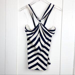 Ralph Lauren Silk Navy/White Striped Halter Top 8